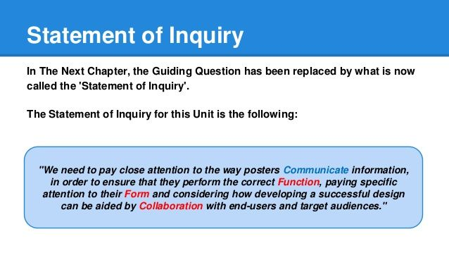 Myp Statement Of Inquiry Examples  Google Search  Statement Of