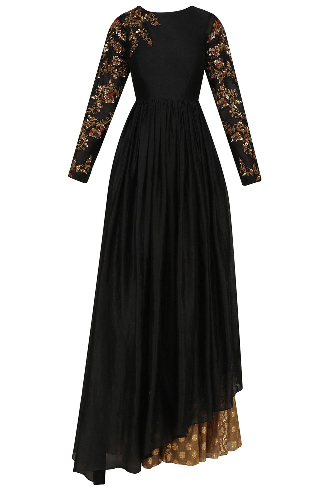 Black floral embroidered asymmetric kurta and skirt set available only at Pernia's Pop Up Shop.