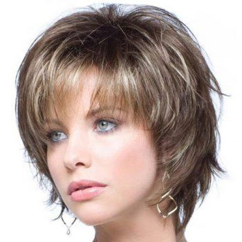 Admirable Western Style Capless Side Bang Fluffy Mixed Color Slightly Curly Short Hairstyles Gunalazisus