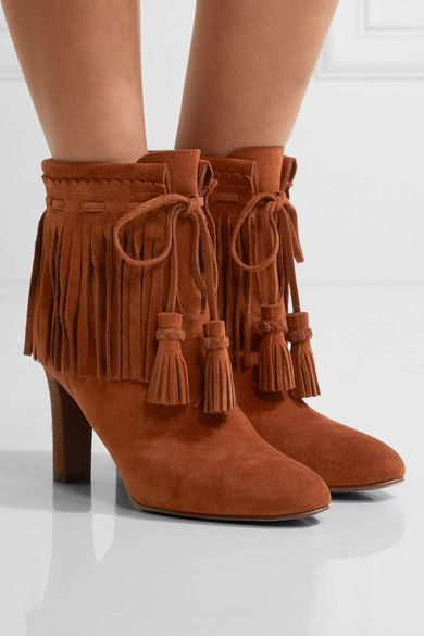 Tan Fringed suede ankle boots | See By