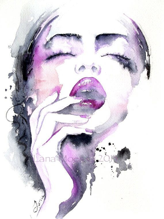 Original Watercolor Fashion Illustration Abstract Watercolor By