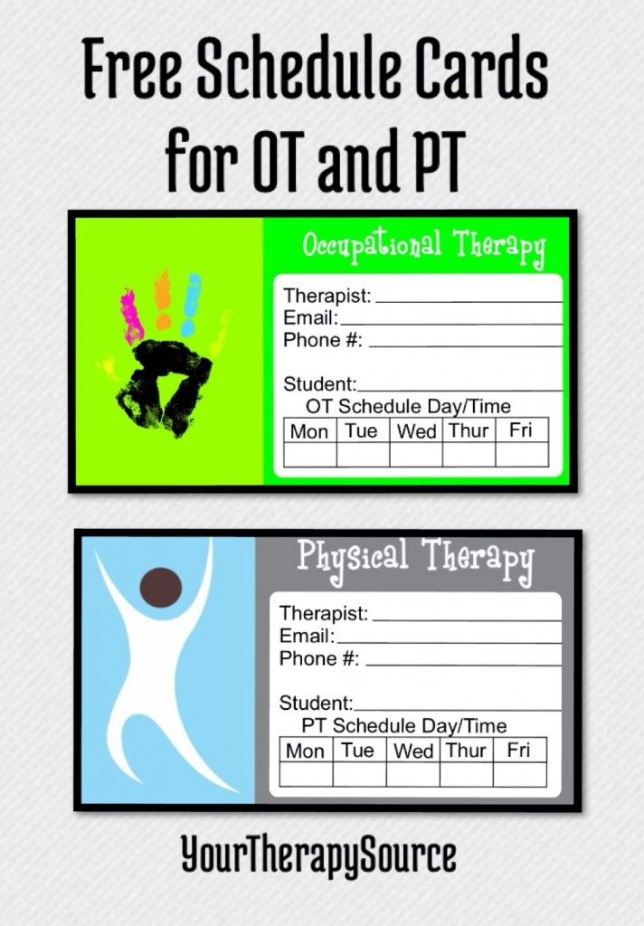 free scheduling cards for ot and pt