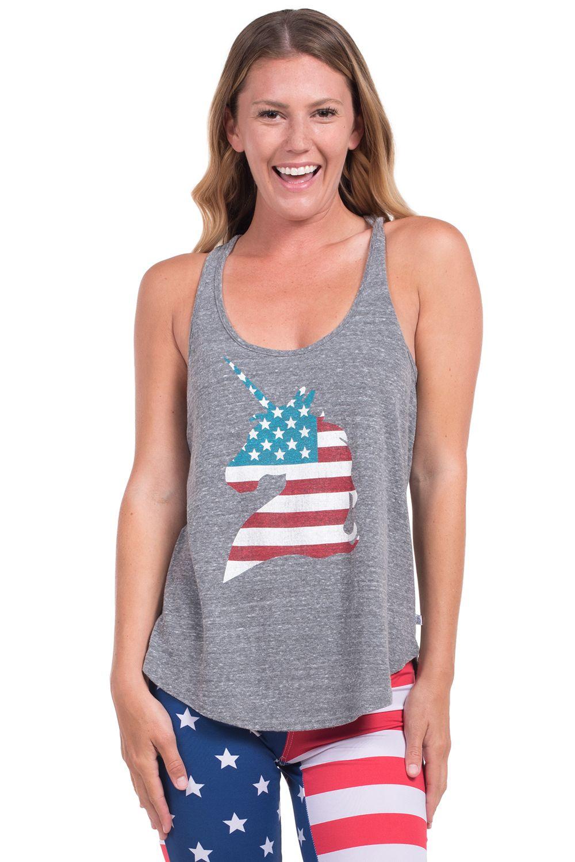8ca4b2ec6c2419 Women s USA Unicorn Tank Top Shirt