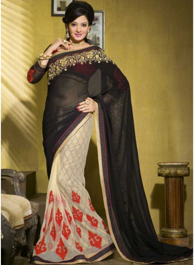 Classy Black And Cream Net With Georgette Half N Half Saree  http://www.angelnx.com/