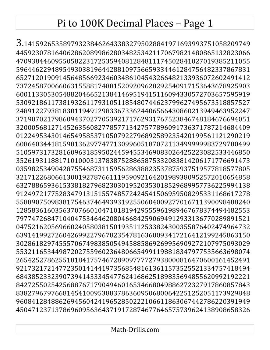 Happy Pi Day The Pi To 100k Decimal Places Math Worksheet From The Measurement Worksheets Page At Math Drills C Decimals Measurement Worksheets Math Resources [ 1165 x 900 Pixel ]