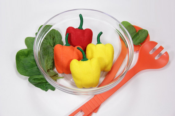 Felt food Felt vegetables Felt pepper Bell pepper Felt kitchen decor Thanksgiving decor Fabric food Bright home decor Healthy play felt food