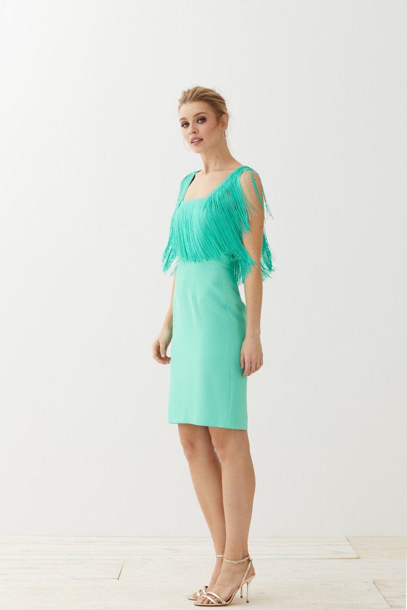 ff6a22effe22 Vestido Corto Aguamarina Flecos Elissa | Fashion | Vestidos ...