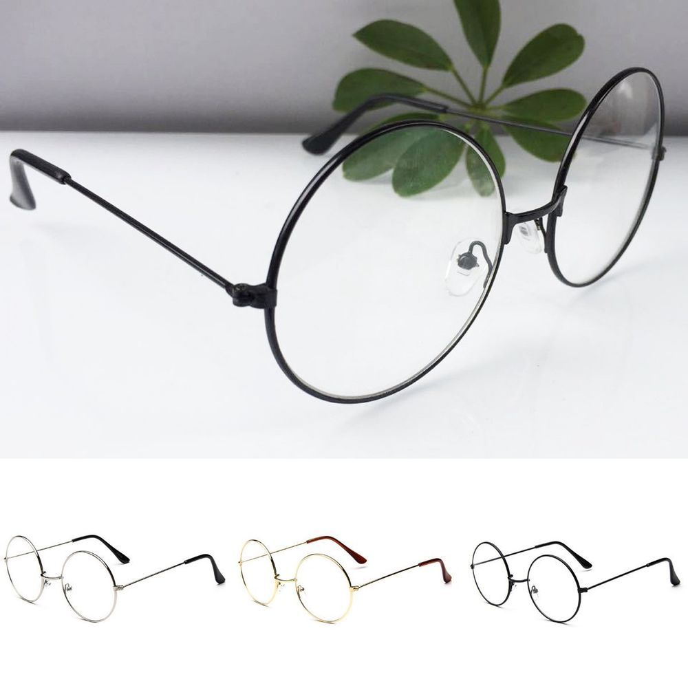 Details about New! Women Men Large Oversized Metal Frame Clear Lens Round Circle Eye Glasses
