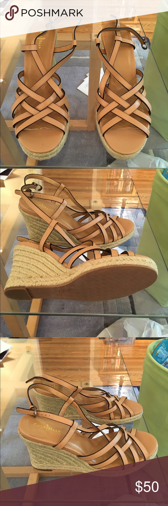 Cole Haan Tan Wedge Sandal - new! Cole Haan Tan Wedge Sandal - new! Never worn. Strapped leather wedge. Size 10.5. Cole Haan Shoes Wedges