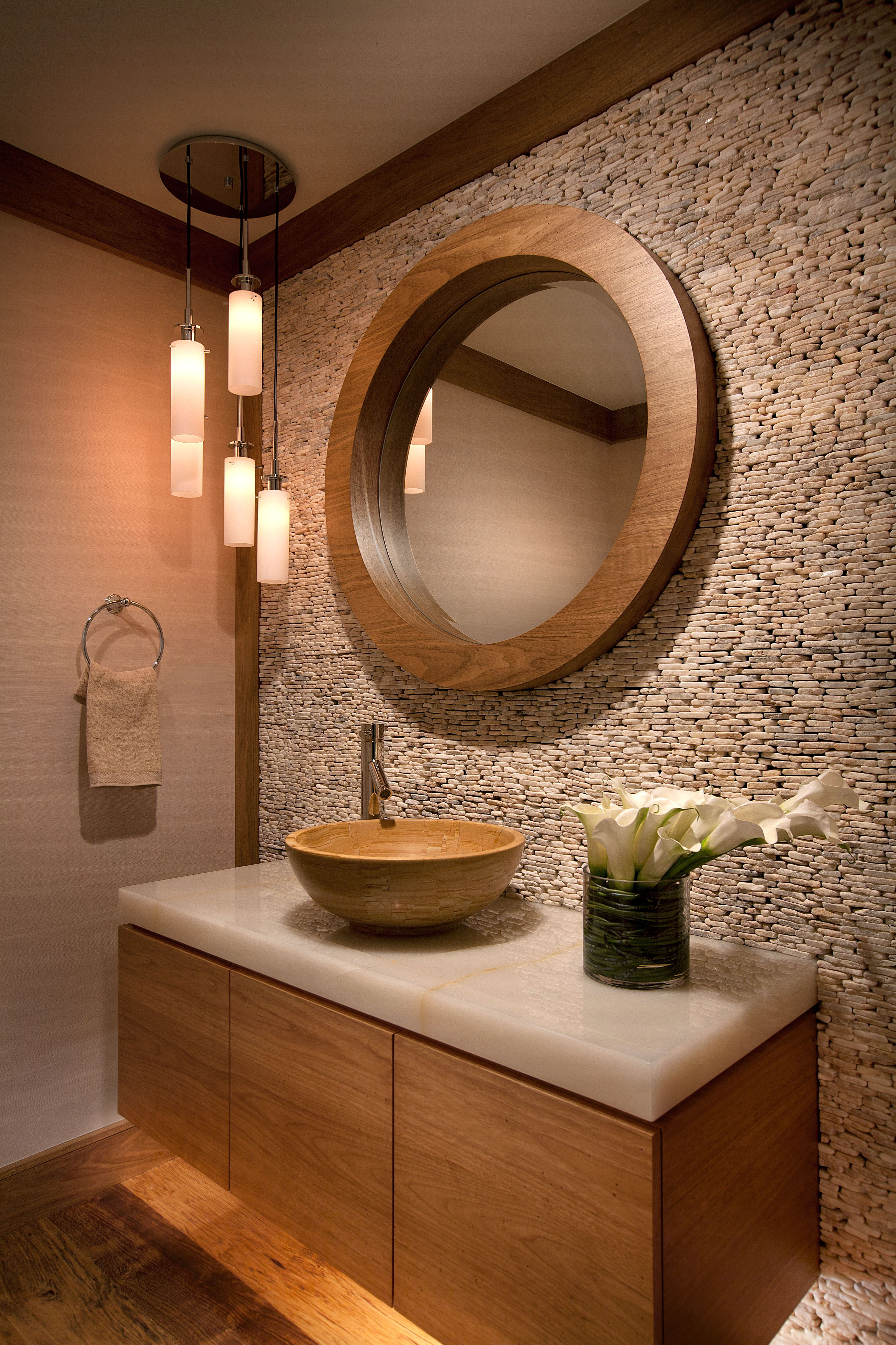 Earth tones and textures inspire this space and make a statement W