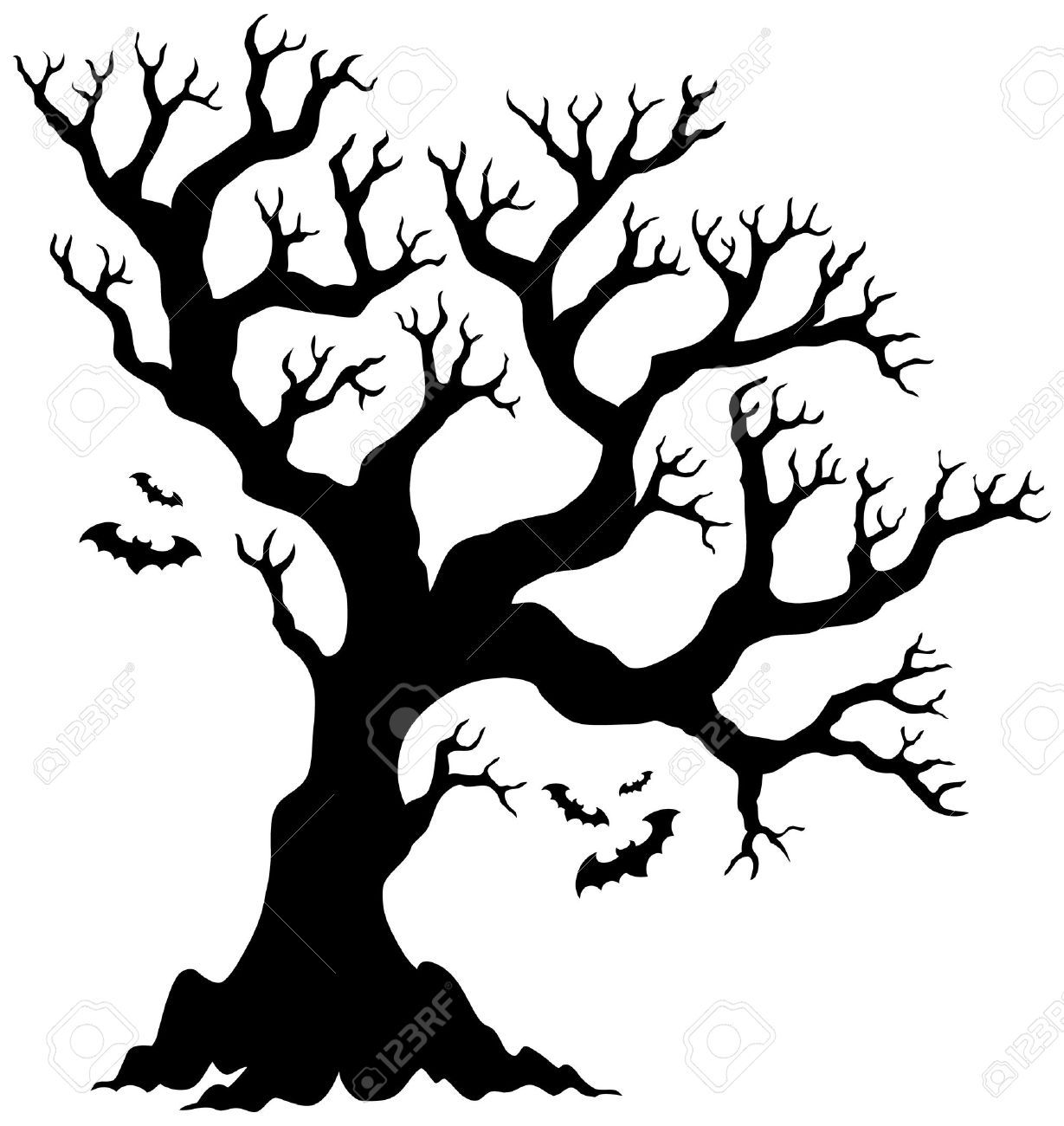 medium resolution of silhouette halloween tree with bats royalty free cliparts vectors