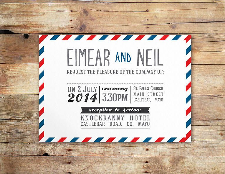 Postal Service French Postcard Inspired Wedding Invitation By Little Ivory