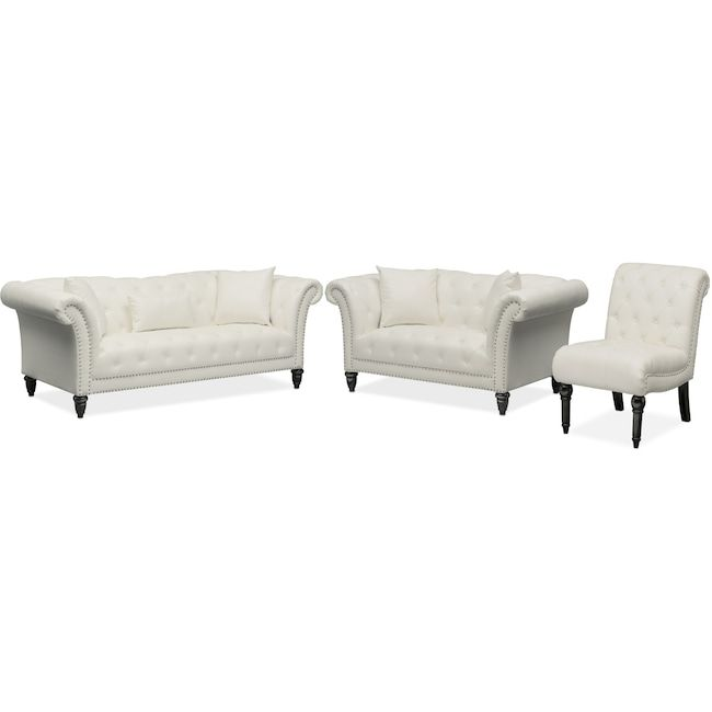 Couch And Chair Set Fishing Academy Living Room Furniture Marisol Sofa Loveseat White