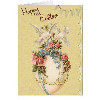 personalized easter card vintage egg and doves card flowers floral