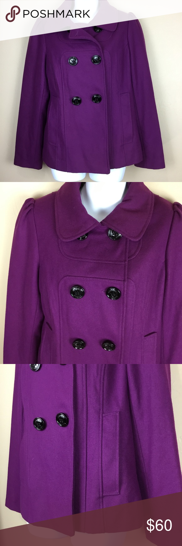 Steve Madden Double Breasted Purple Pea Coat SZ M Steve