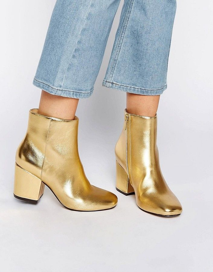 3ebc2f341a5 Affordable Fall Metallic Gold Ankle Boots ASOS RACHELLE Heeled Ankle Boots
