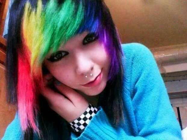 emo girl rainbow hair scene