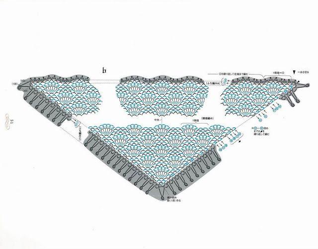 Chal Patron con Tutorial - Patrones Crochet   chales   Pinterest ...