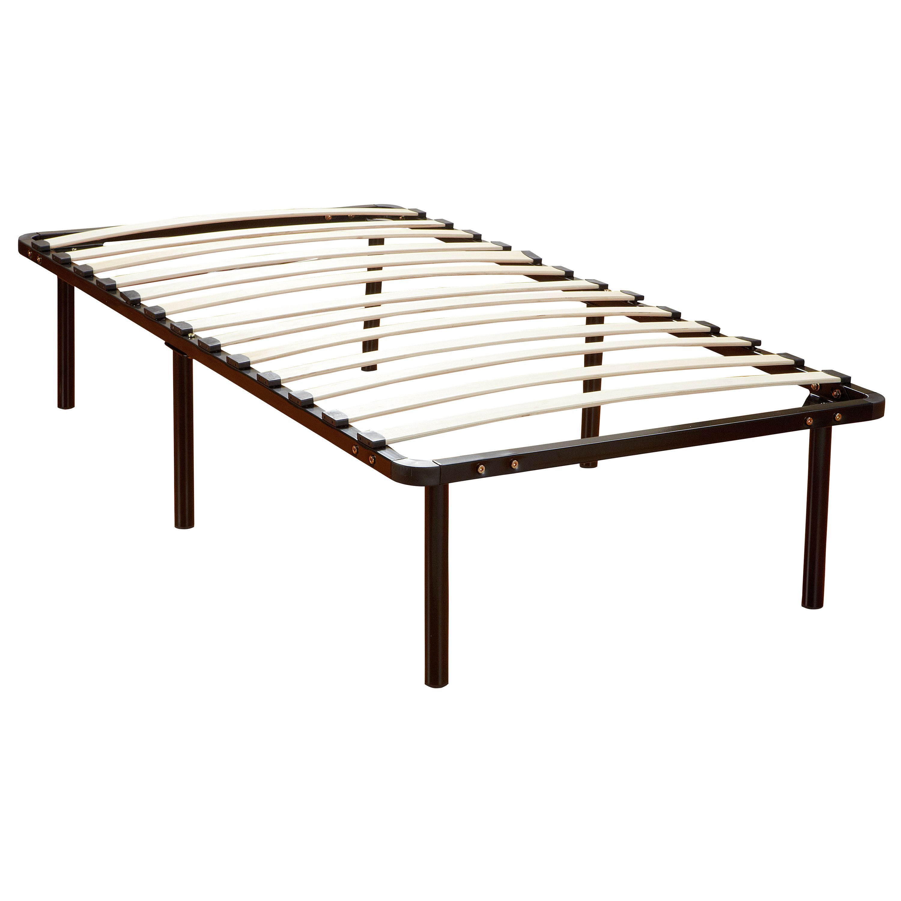 PostureLoft Wood Slat and Metal Platform Twin XL Bed Frame and ...