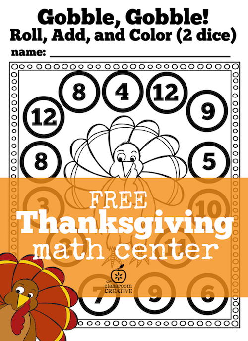 Free Thanksgiving Math Center for Kindergarten and First Grade