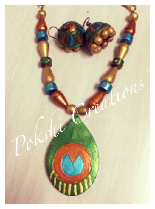 Terracotta Jewellery - peacock feather
