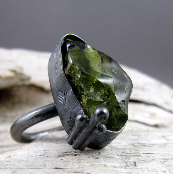 Peridot Dragonfly Design Silver 'Renewal' Ring by ElementalAlchemist on Etsy $125.00 this one is really cool.