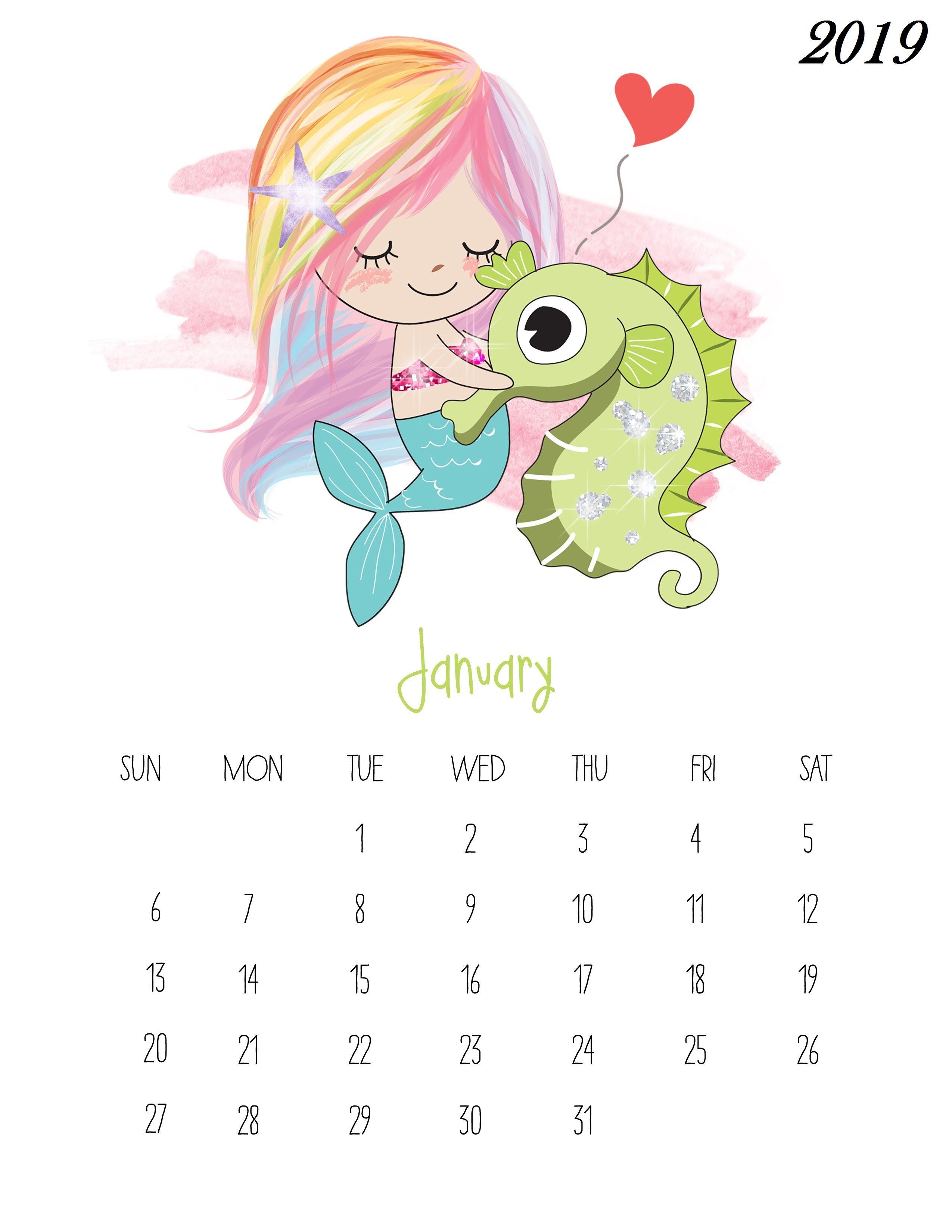 Printable Calendar 2019 Pocahontas Prinsess For February For Kids Cute January Calendar 2019 for Kids | 250+ January 2019 Calendar