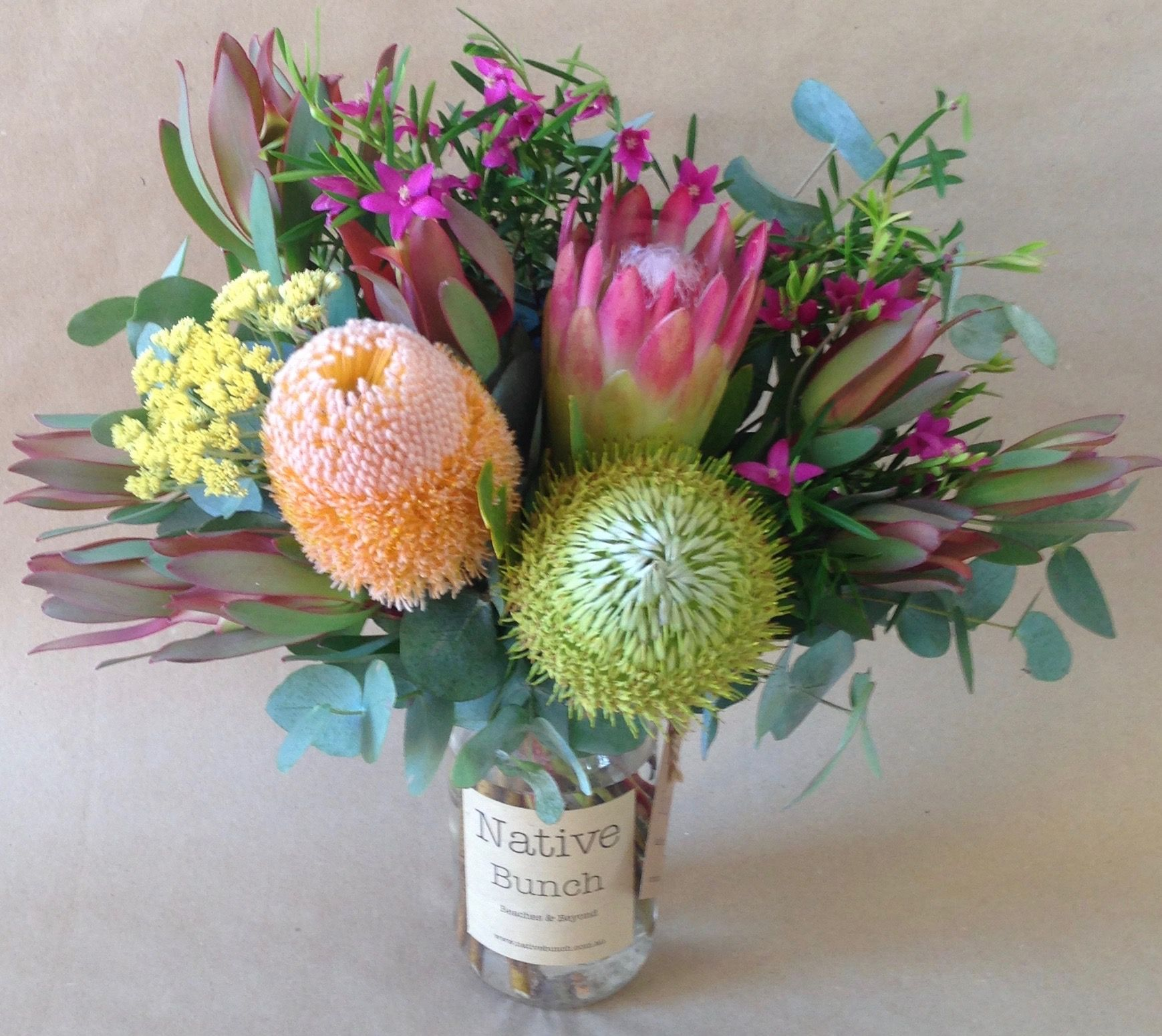 Native Flowers Banksia Protea Repens Crowea Leucadendrons Cassinea Eucalyptus Posy In A Jar Flower Delivery Flower Arrangements Floral Shop