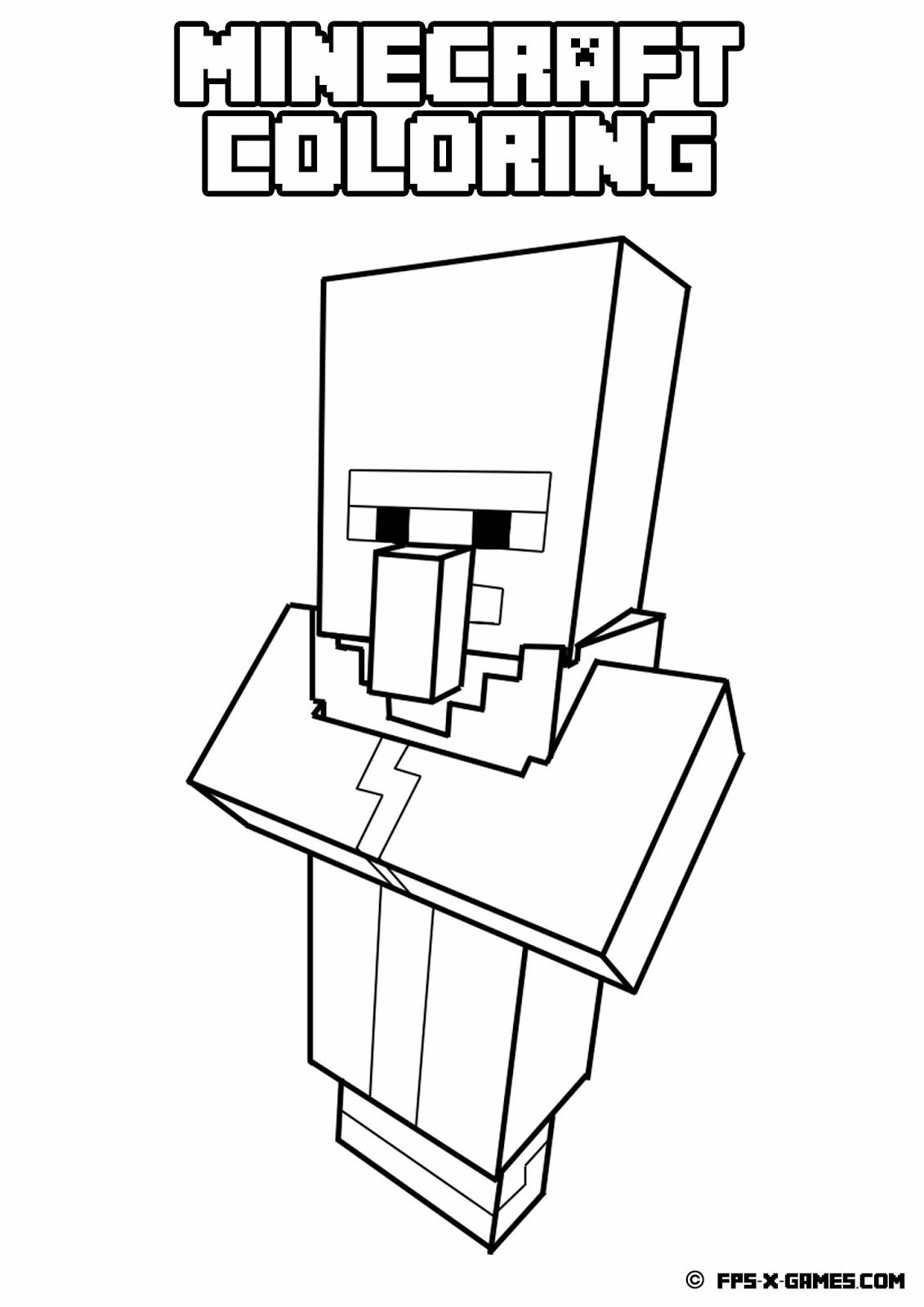 Minecraft Coloring Villager Jpg 1131 1600 Minecraft Coloring Pages Free Coloring Pages Coloring Pages For Kids