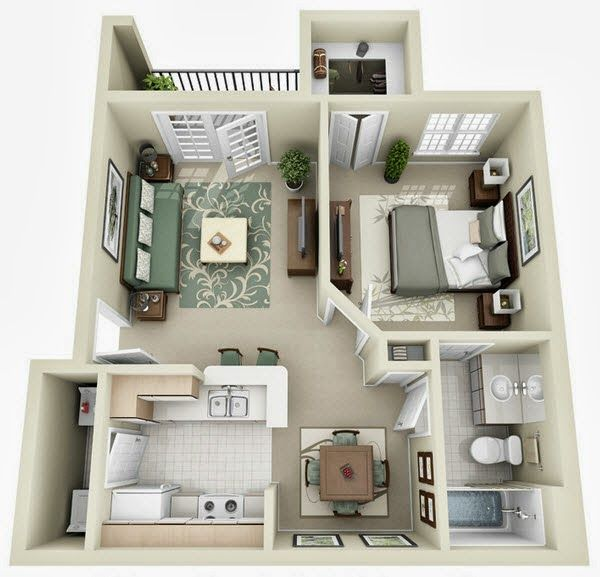 Departamentos peque os planos y dise o en 3d for Distribucion de apartamentos de 40 metros
