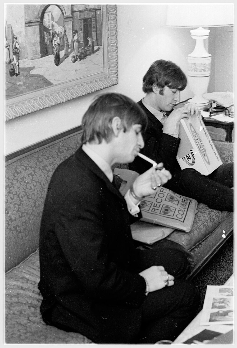 at the Plaza Hotel John and Ringo and their latest stash of free records