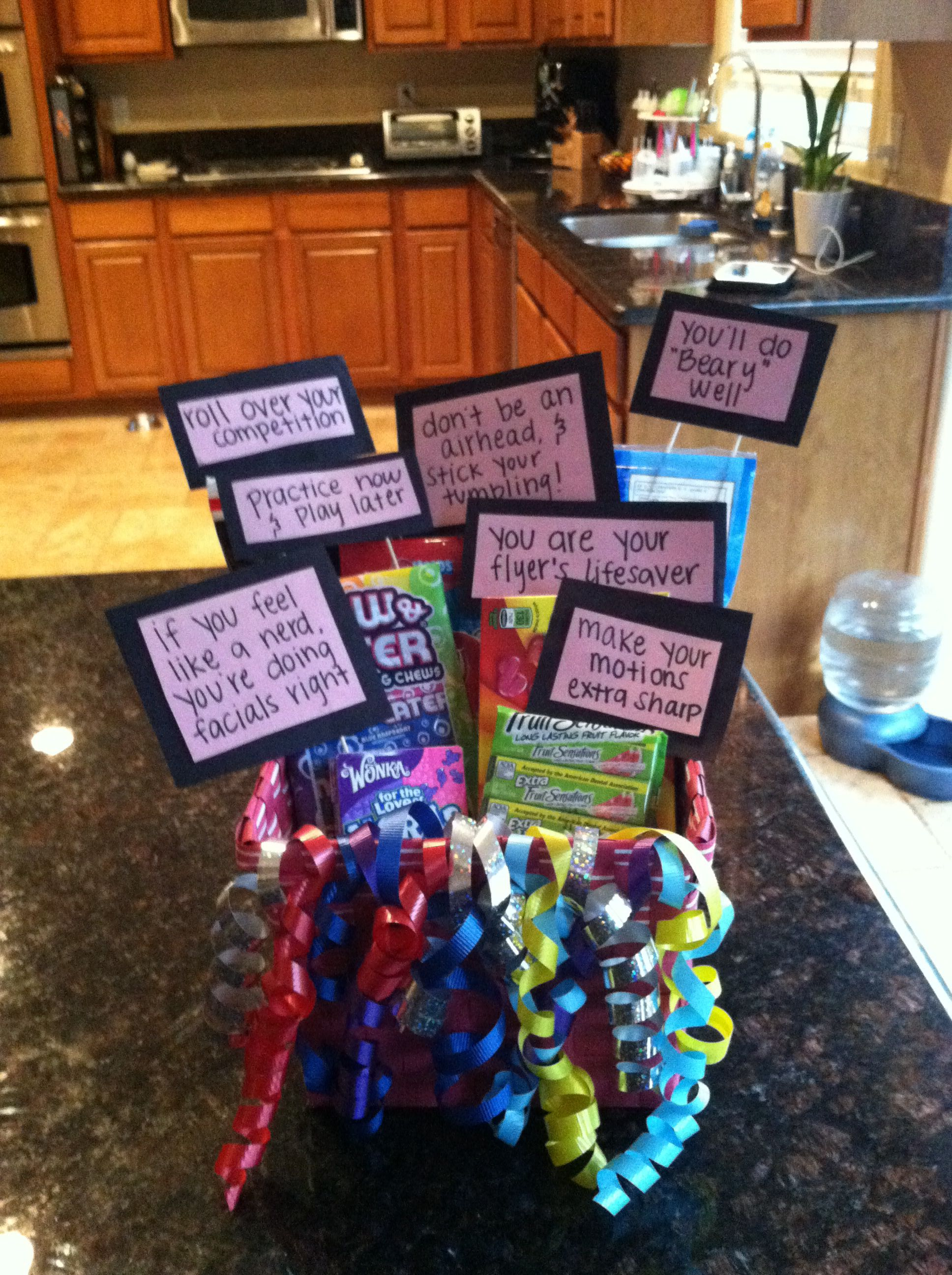 My cheer lil sis before competition gift! #cheerleading #gifts #diy
