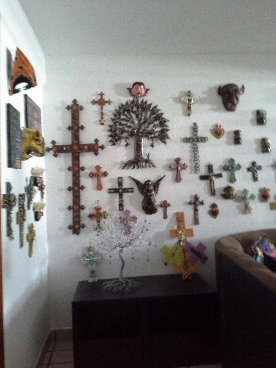 Hand painted mexican cross srosses colorful zapatisa story crosses chiapas mexico la casa de sonia ceramics crafts folk art amatinango del valle