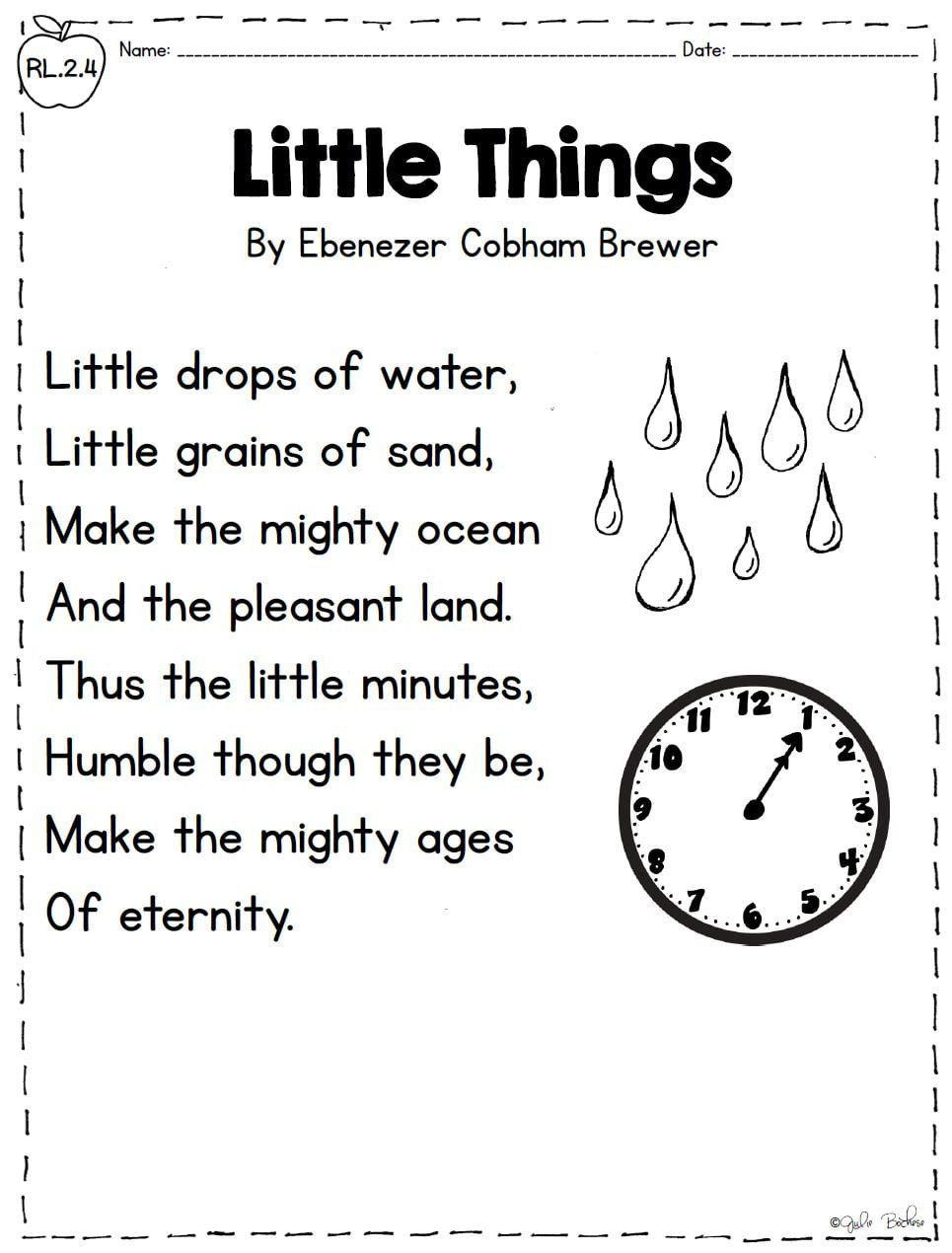 small resolution of Informational Passages for 2nd Grade Poetry Words and Phrases – 2nd Grade  Rl 2 4   Poetry worksheets