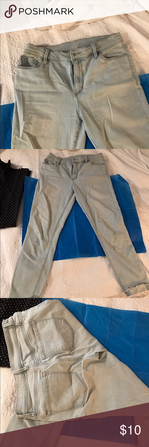 Cropped light blue jeans from Loft Very pale blue cropped lightweight jeans from LOFT. Uncuffed for  a frayed look. Good condition LOFT Jeans Ankle & Cropped
