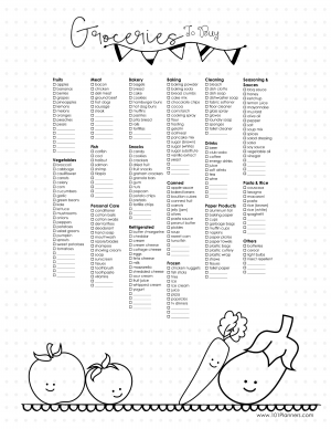 Free Printable Grocery List Bullet Planner Style Customizable