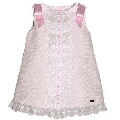 Vestido bebe nina evase pique rosa lazos raso dolce petit - Lazos para bebes ...