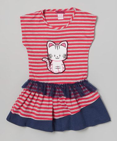 Love this Pink & Gray Stripe Cat Dress - Toddler & Girls by Unik on #zulily! #zulilyfinds
