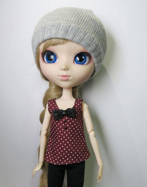 2a82cdb373ddc Maroon Polka Dot Tank Top w  Black Lace Bow for Barbie Pullip Blythe ...