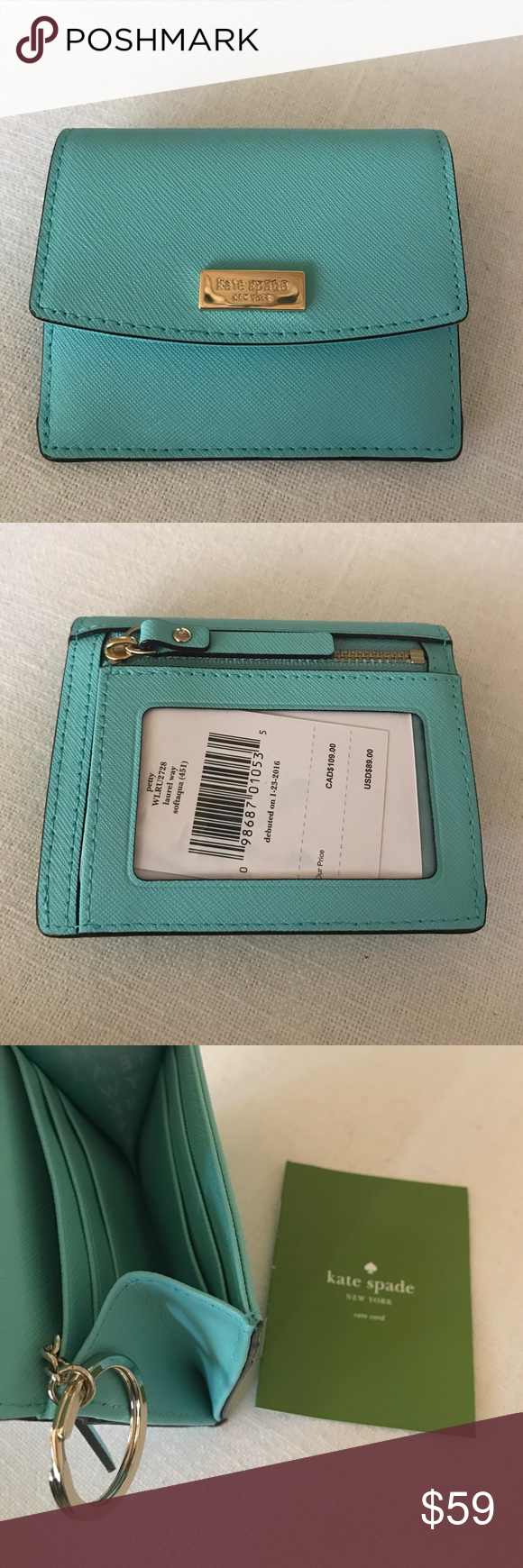 ada07811ac8f7 Kate Spade Petty Laurel Way Wallet Card Case Kate Spade Petty Laurel Way  Wallet Card Case. NEW WITH TAGS! Back has zippered coin pocket and ID slot.