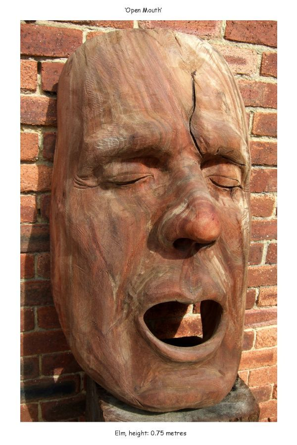 Quot open mouth large wooden face carving in elm by david