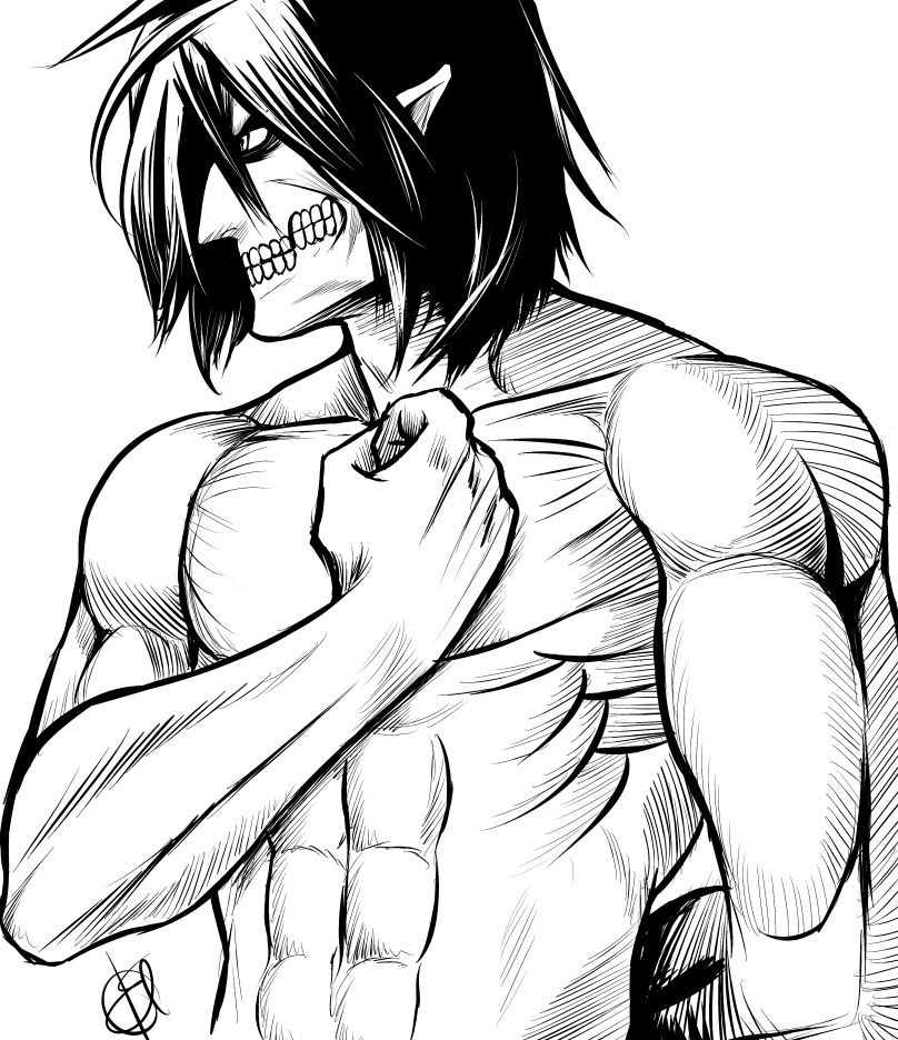 Eren in titan form saluting