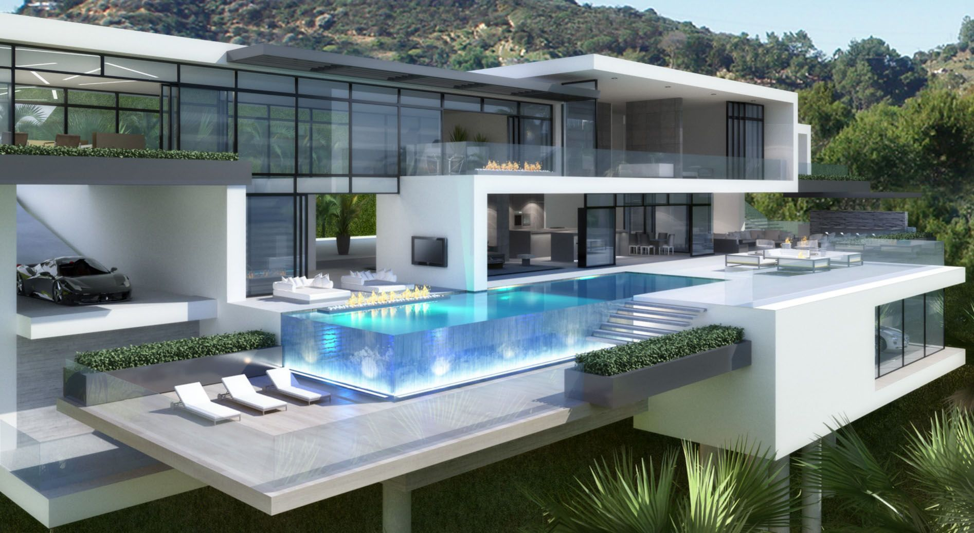 Fascinating Starlight Mansion Home Plans In White Color Featuring Terrace With Lounge Chair Swimming Pool G Big Modern Houses Modern Mansion Ultra Modern Homes