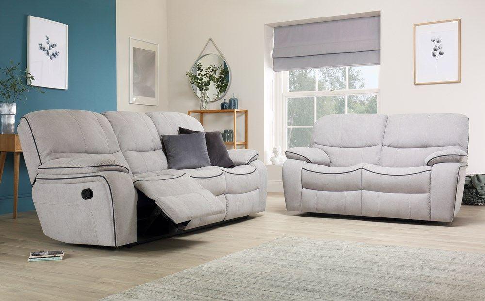 Beaumont Dove Grey Plush Fabric 3 2 Seater Recliner Sofa Set Reclining Sofa Bedroom Furniture Sets Clean Sofa