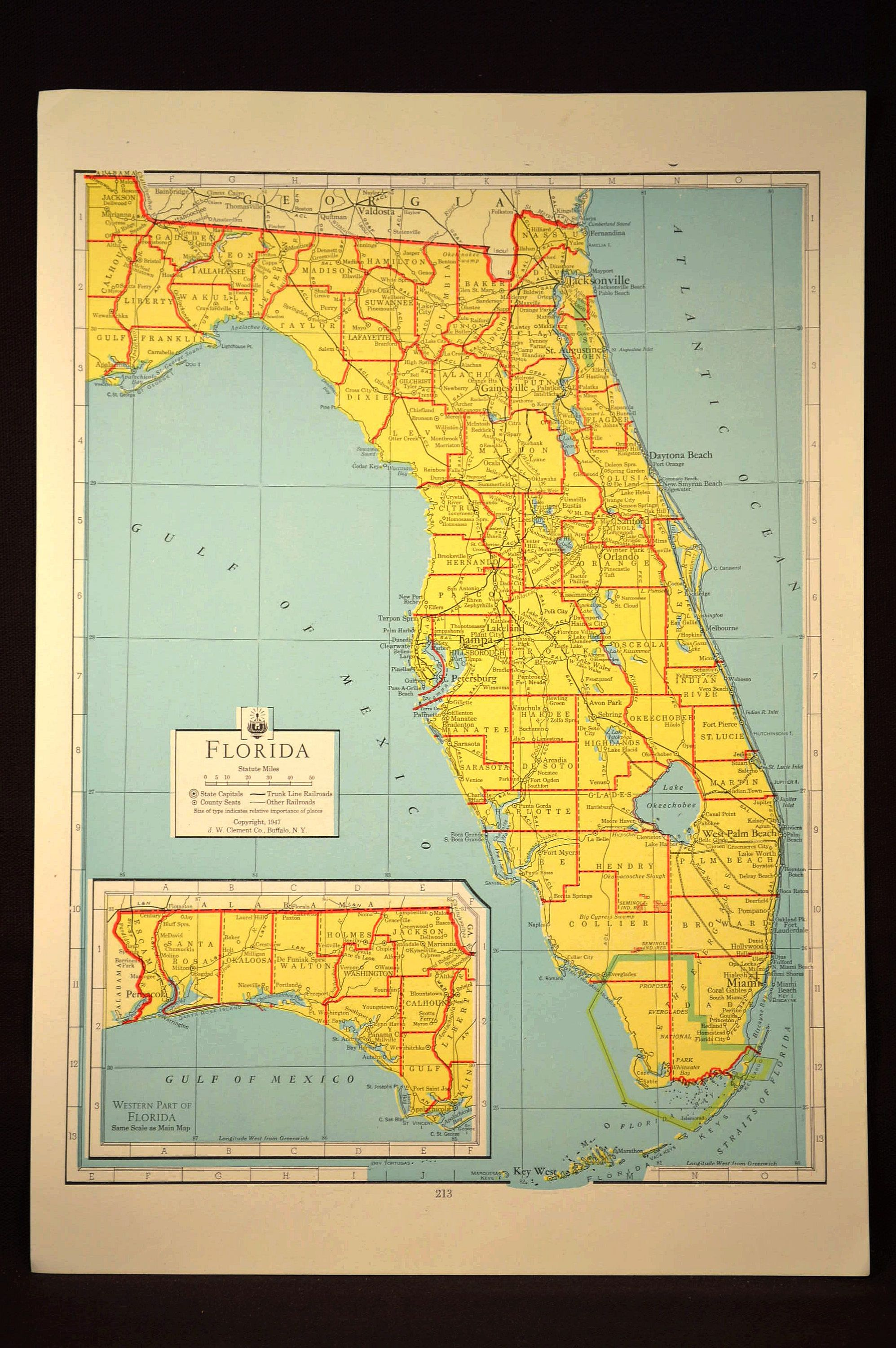 Colorful Yellow Vintage Florida Map Florida Colorful | Maps ...