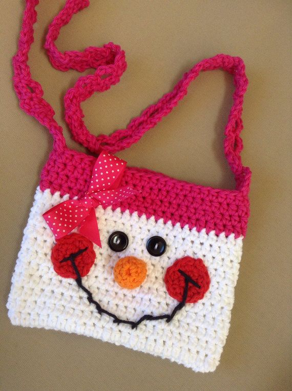 Oh so Cute Cotton Crochet girls snowman purse by sweetandhandmade happy pink  snowgirl winter purse cute gift for girls dd309166e956a