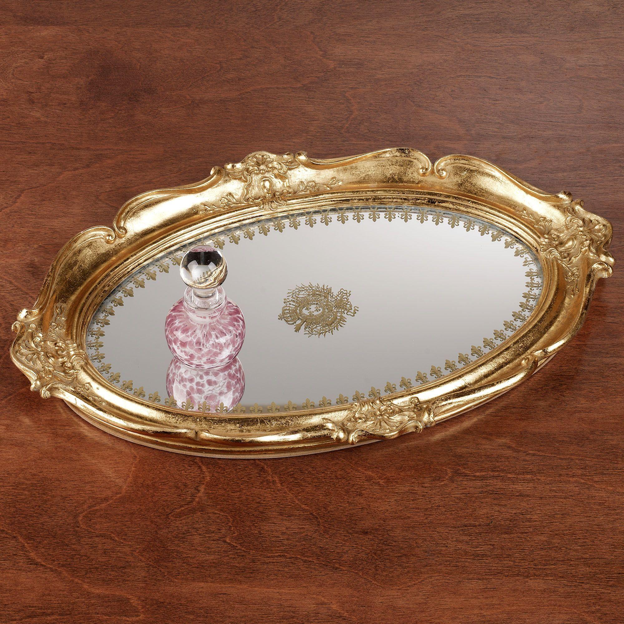 White vanity mirror vintage mirror vanity tray vintage mirrored - Adina Gold Scalloped Mirrored Vanity Tray Mirrored Vanityvanity Trayvintage