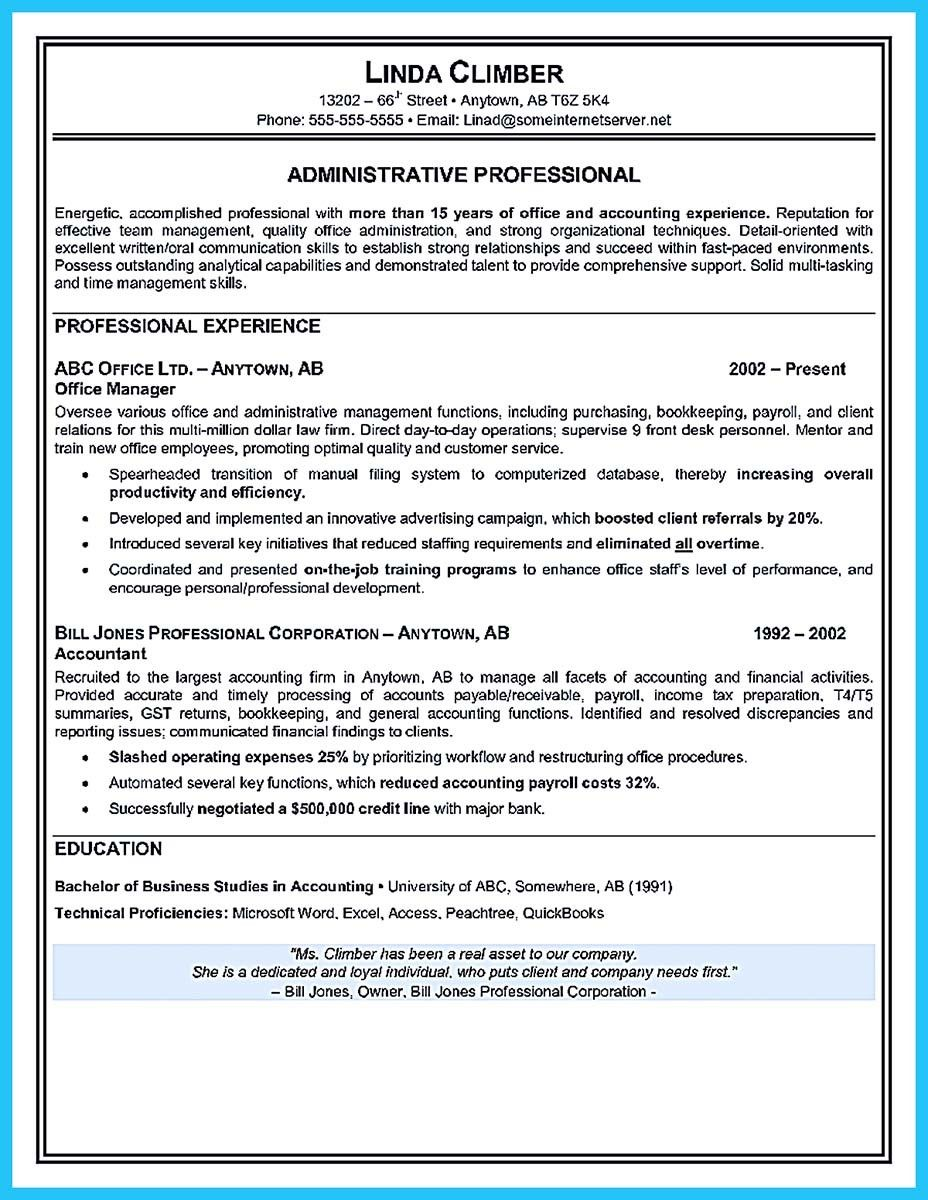nice professional administrative resume sample to make you get the job
