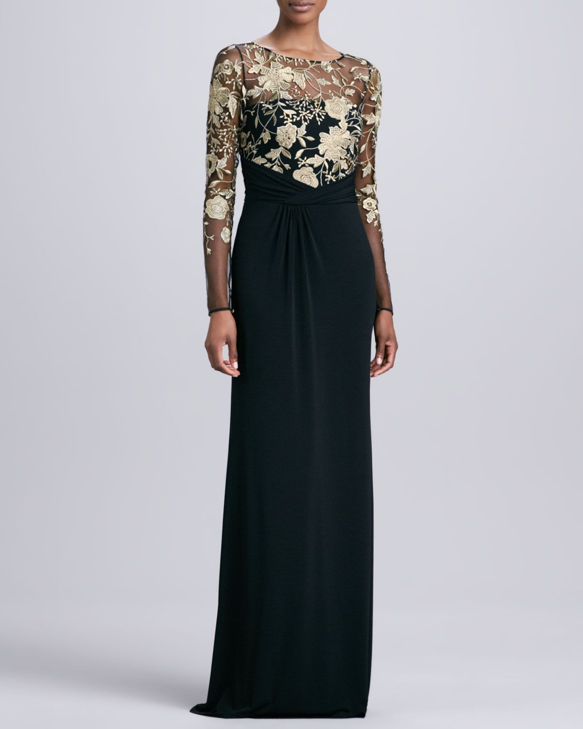 David Meister Long-Sleeve Lace-Overlay Gown - Neiman Marcus ...