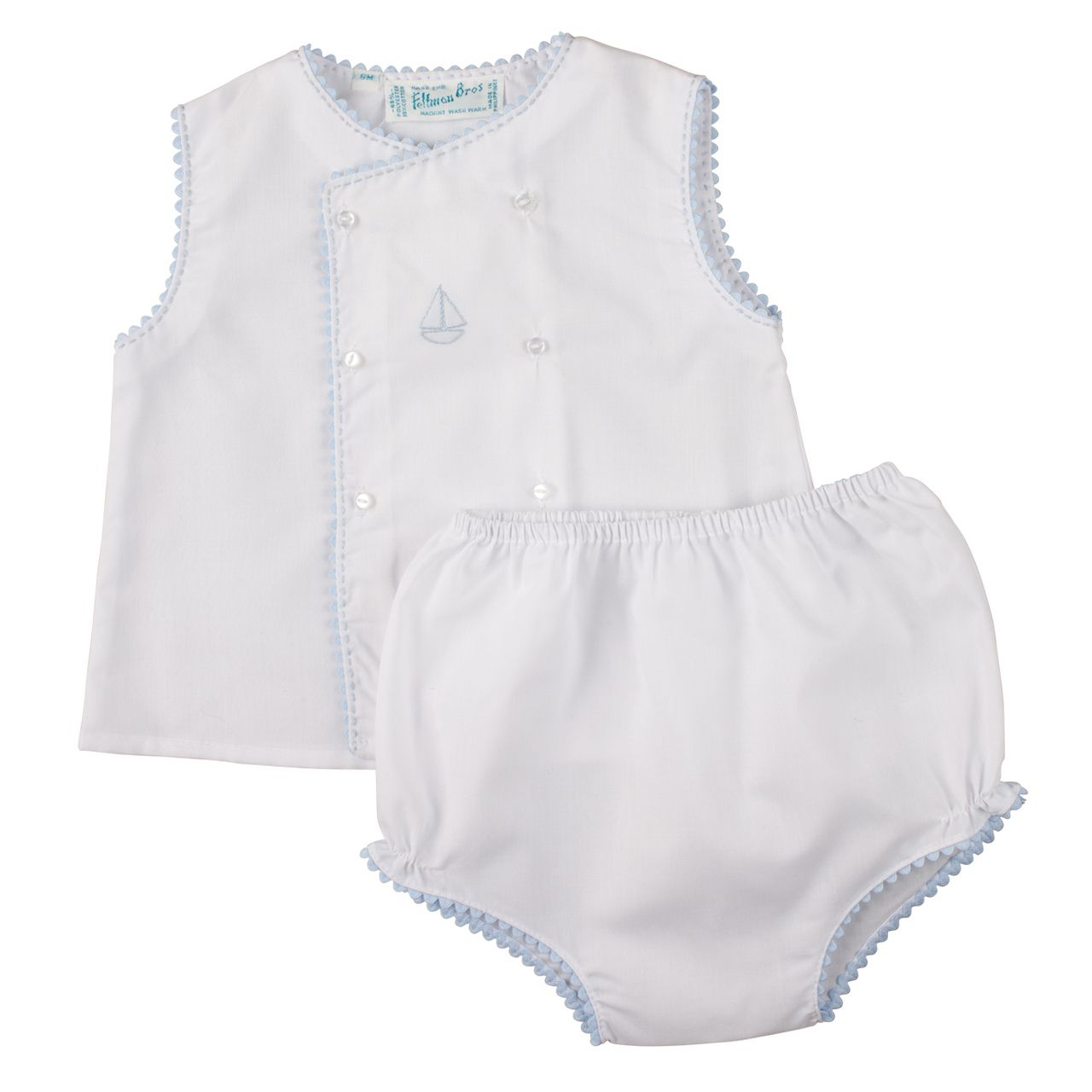 NWT Feltman Brothers Bros White Smocked Baby Bonnet Newborn 0 3 M Boys Cap